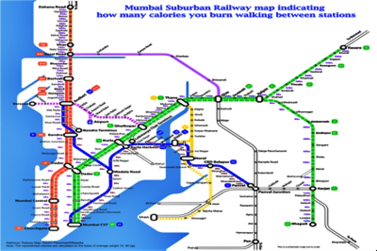 Different view: Mumbai Suburban Railway map indicating how ...
