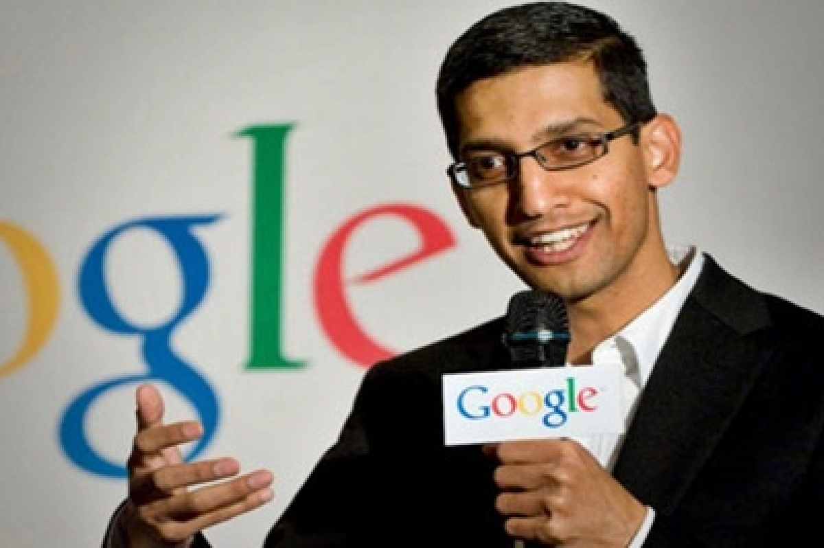 Google CEO Sundar Pichai interacts with students at SRCC campus