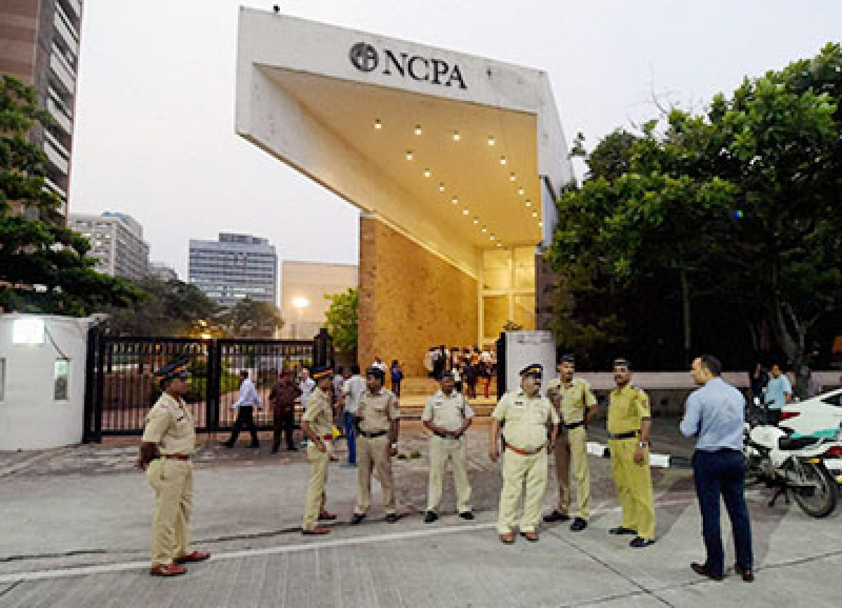 "Mumbai: Police security at NCPA theatre for play ""Agnes of God"" in Mumbai on Monday after Catholics raised objection against the play. PTI Photo by Santosh Hirlekar (PTI10_5_2015_000304B)"
