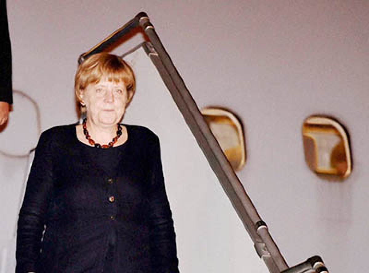 Merkel arrives,  will hold talks  with PM today
