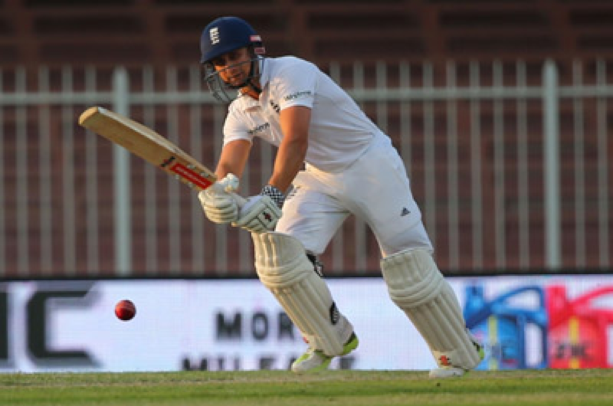 England's James Taylor plays a shot during the second day of the third Test cricket match between Pakistan and England in the Gulf Emirate of Sharjah on November 2, 2015. AFP PHOTO / MARWAN NAAMANI