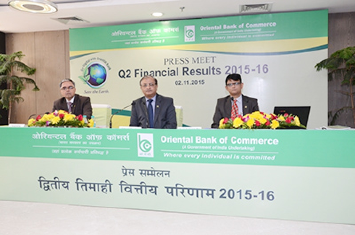 Animesh Chauhan, MD & CEO, Oriental Bank of Commerce (centre) announcing the Q2 financial results of FY 2015-16 along with Suresh N Patel, ED of the Bank at Bank's Corporate Office in Gurgaon. Also seen is CH. S. S. Mallikarjuna Rao, CFO (right).