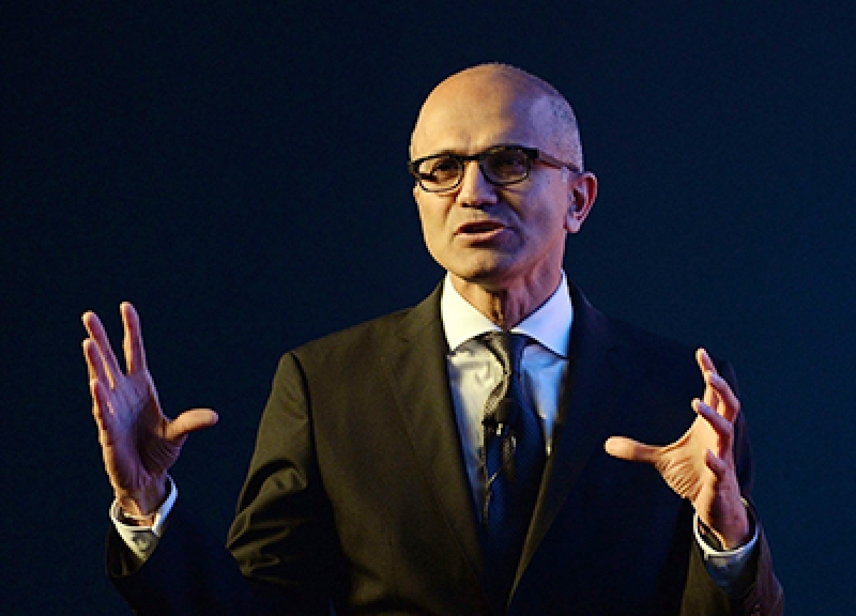 Microsoft CEO Satya Nadella speaks during a two-day technology summit in Mumbai on November 5, 2015./ file