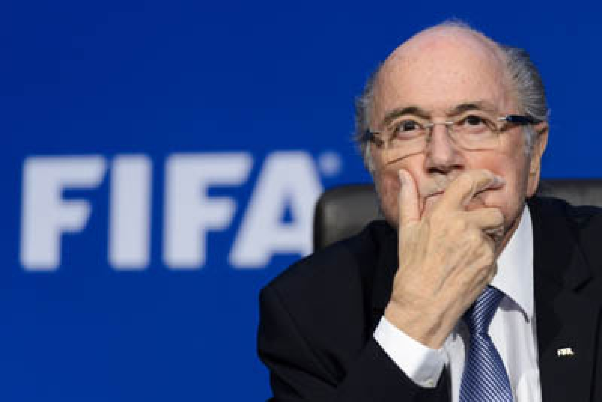 (FILES)-- A file photo taken on July 20, 2015 shows FIFA president Sepp Blatter gesturing during a press conference at the football world body's headquarters in Zurich. A FIFA appeal committee on November 18, 2015 rejected a bid by long-time president Sepp Blatter and UEFA chief Michel Platini to overturn their 90-day suspensions while Swiss police pursue a criminal investigation. AFP PHOTO / FABRICE COFFRINI