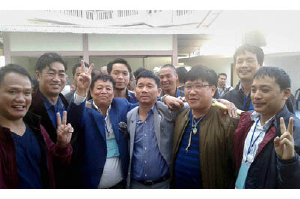 "Itanagar: Rebel Congress MLA Kalikho Pul celebrates with supporters after he was elected as"" Chief Minister"" by 33 legislators in Itanagar, Arunachal Pradesh on Thursday. PTI Photo (PTI12_17_2015_000197B)"