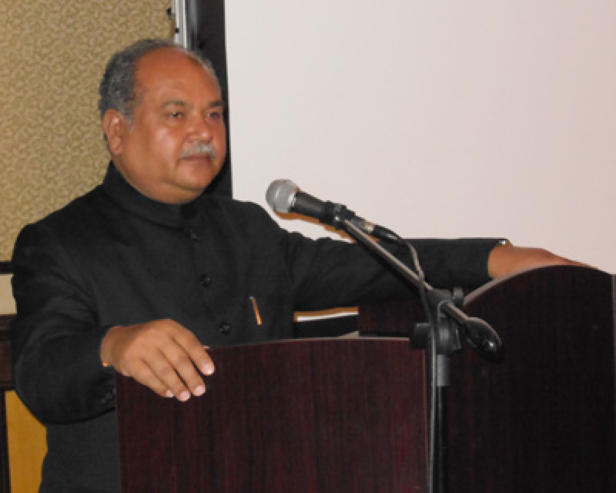 The Union Minister for Mines and Steel, Shri Narendra Singh Tomar addressing at the MINING INDABA 2015, at Cape Town, in South Africa on February 09, 2015.