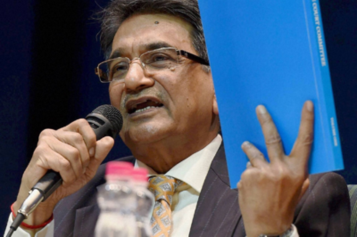 New Delhi : Chairman of the Supreme Court Committee on Reforms in Cricket Justice (retd.) R M Lodha addressing a press conference after tabling the committee's report in New Delhi on Monday. PTI Photo by Subhav Shukla  (PTI1_4_2016_000132B)
