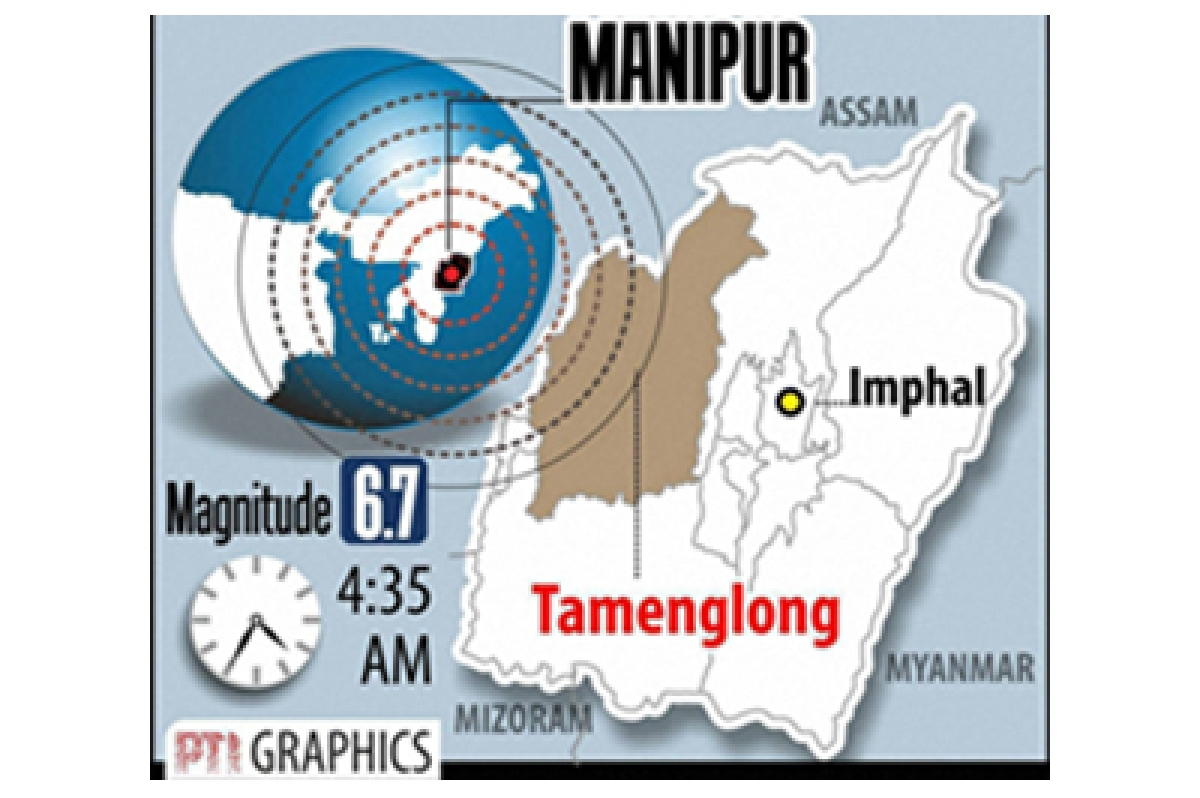New Delhi: A strong 6.7 magnitude earthquake with its epicentre at Tamenglong district epicentre in Manipur hit the northeastern region. pti graphics(PTI1_4_2016_000016B)