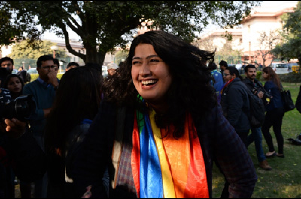 Indian gay rights activist Amalina Dave smiles outside India's Supreme Court in New Delhi on February 2, 2016. India's top court agreed February 2 to review a law outlawing gay sex, sparking hope among campaigners that the legislation dating back to the 19th century will eventually be overturned in the world's biggest democracy.  AFP PHOTO / SAJJAD HUSSAIN