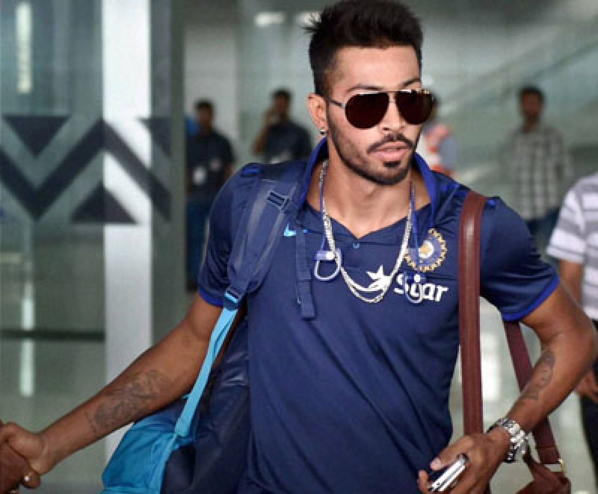 Kolkata: Cricketer Hardik Pandya arrives at NSCBI Airport for the upcoming T 20 World Cup, in Kolkata on Monday. PTI Photo by Ashok Bhaumik(PTI3_7_2016_000027B)