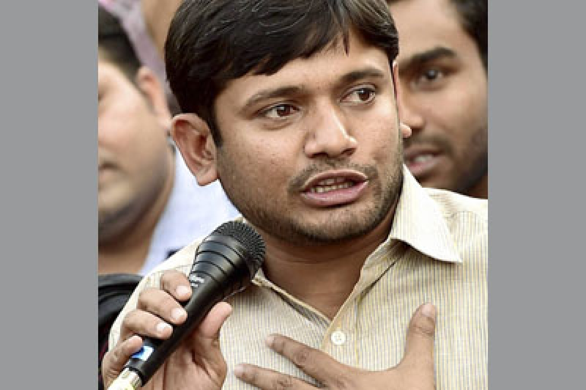 New Delhi:  JNUSU President Kanhaiya Kumar addresses a news conference at the JNU campus in New Delhi on Friday. PTI Photo by Kamal Kishore (PTI3_4_2016_000200 B)