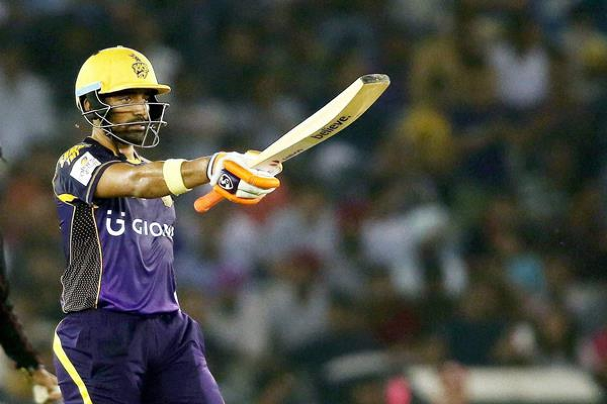 Mohali : Kolkata Knight Riders batsman Robin Uthappa raises his bat after reaching his fifty against Kings XI Punjab during the Indian Premier League (IPL) 2016 T20 match , in Mohali on Tuesday .