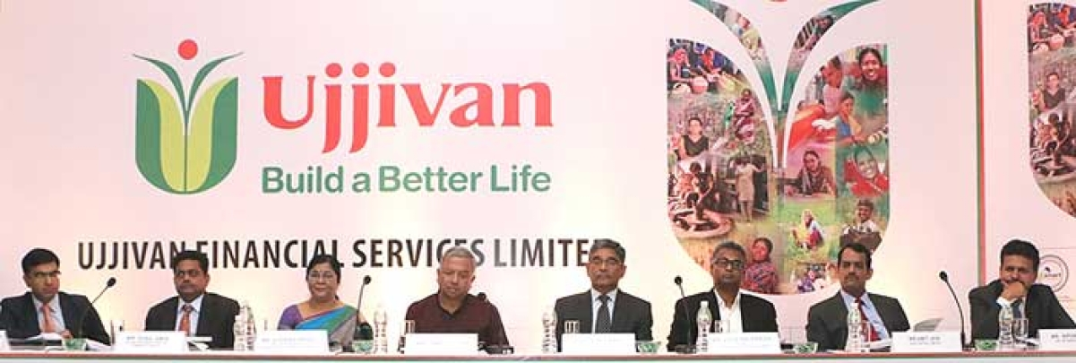 (L to R) Pritish Kandoi- ICICI Securities Limited, Sunil Amin- Kotak Mahindra Capital Company Limited, Sudha Suresh- CFO, Ujjivan Financial Services Limited, Samit Ghosh- Managing Director and CEO, Ujjivan Financial Services Limited, Ittira Davis- Head transition, Ujjivan Financial Services Limited, Jolly Zachariah, COO West, Ujjivan Financial Services Limited, Amit Jain- Axis Capital Limited, Nipun Goel – IIFL Holdings Limited at a press conference to announce the launch of its IPO issue