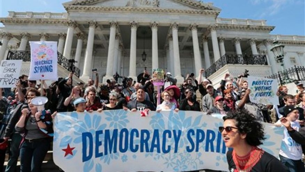 Hundreds protest at US Capitol against big money in politics