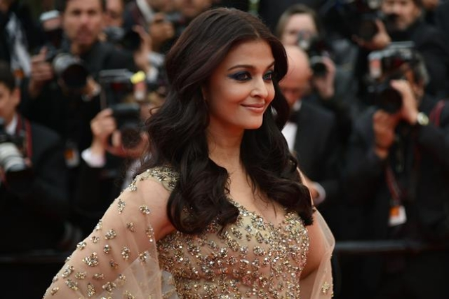"Indian actress Aishwarya Rai poses on May 13, 2016 as she arrives for the screening of the film ""Ma Loute (Slack Bay)"" at the 69th Cannes Film Festival in Cannes, southern France."