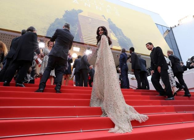 "Indian Bollywood actress Aishwarya Rai arrives on May 13, 2016 for the screening of the film ""Ma Loute (Slack Bay)"" at the 69th Cannes Film Festival in Cannes, southern France."