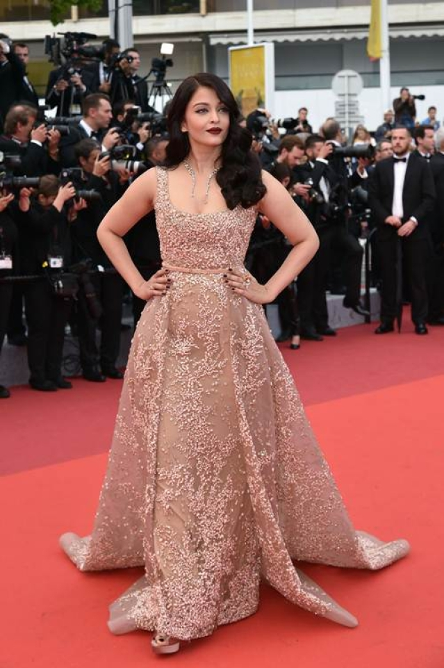 "Indian actress Aishwarya Rai poses as she arrives on May 14, 2016 for the screening of the film ""The BFG"" at the 69th Cannes Film Festival in Cannes, southern France."