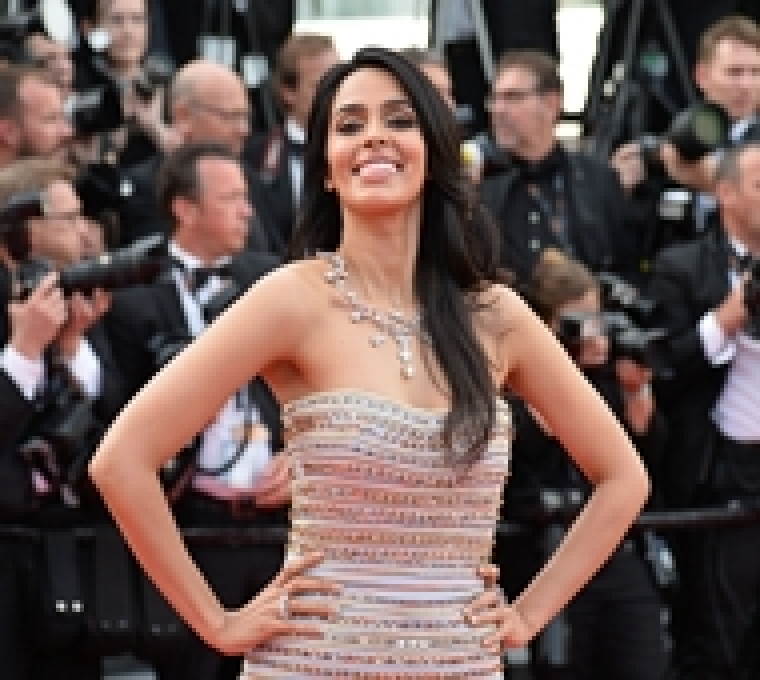 Indian model and actress Mallika Sherawat poses as she arrives on May 11, 2016 for the opening ceremony of the 69th Cannes Film Festival in Cannes, southern France.  / AFP PHOTO / ALBERTO PIZZOLI