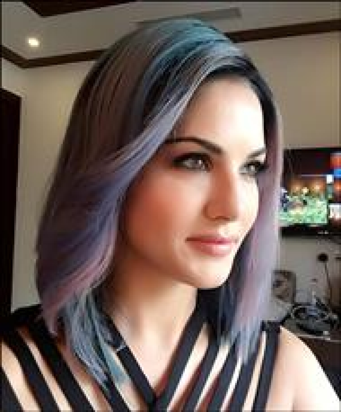 Check out Sunny Leone goes purple-blue