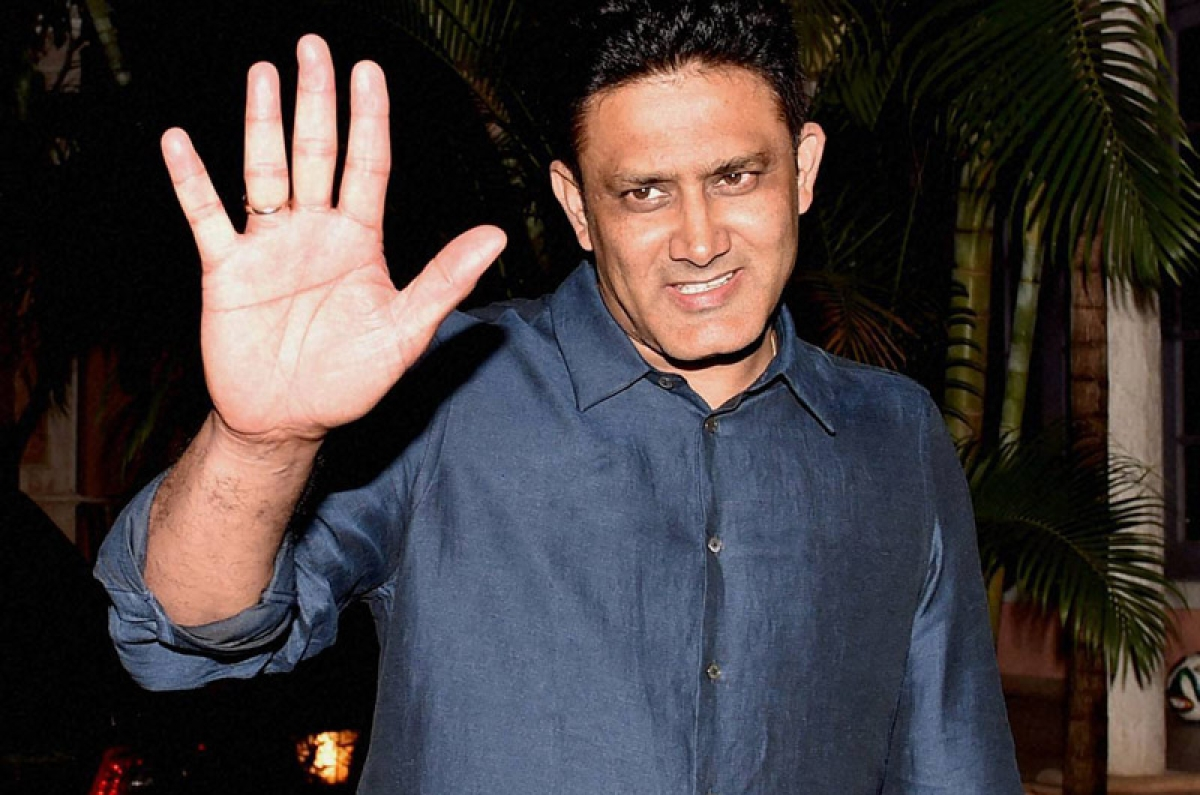 Bengaluru : Newly appointed Indian Cricket Team Head Coach Anil Kumble gestures at his residence in Bengaluru on Thursday. PTI Photo by Shailendra Bhojak (PTI6_23_2016_000210B)