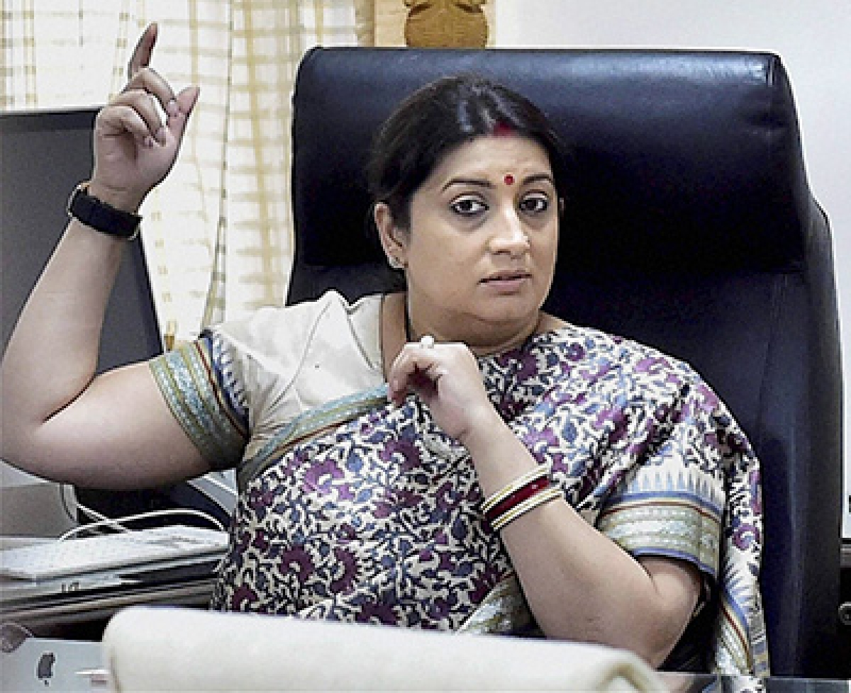Bharatiya Janata Party legislator Smriti Irani at her office after taking charge of the textiles ministry in New Delhi on Wednesday.  PTI