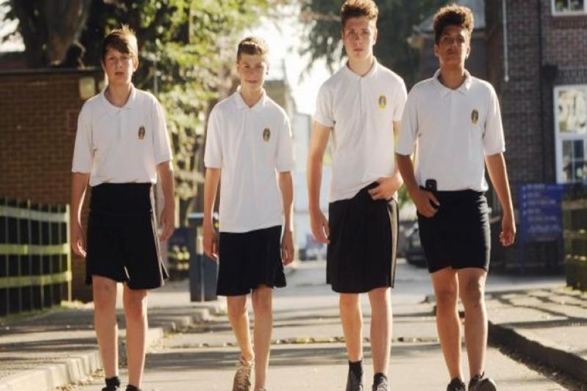 UK school boys wear skirts to protest shorts ban