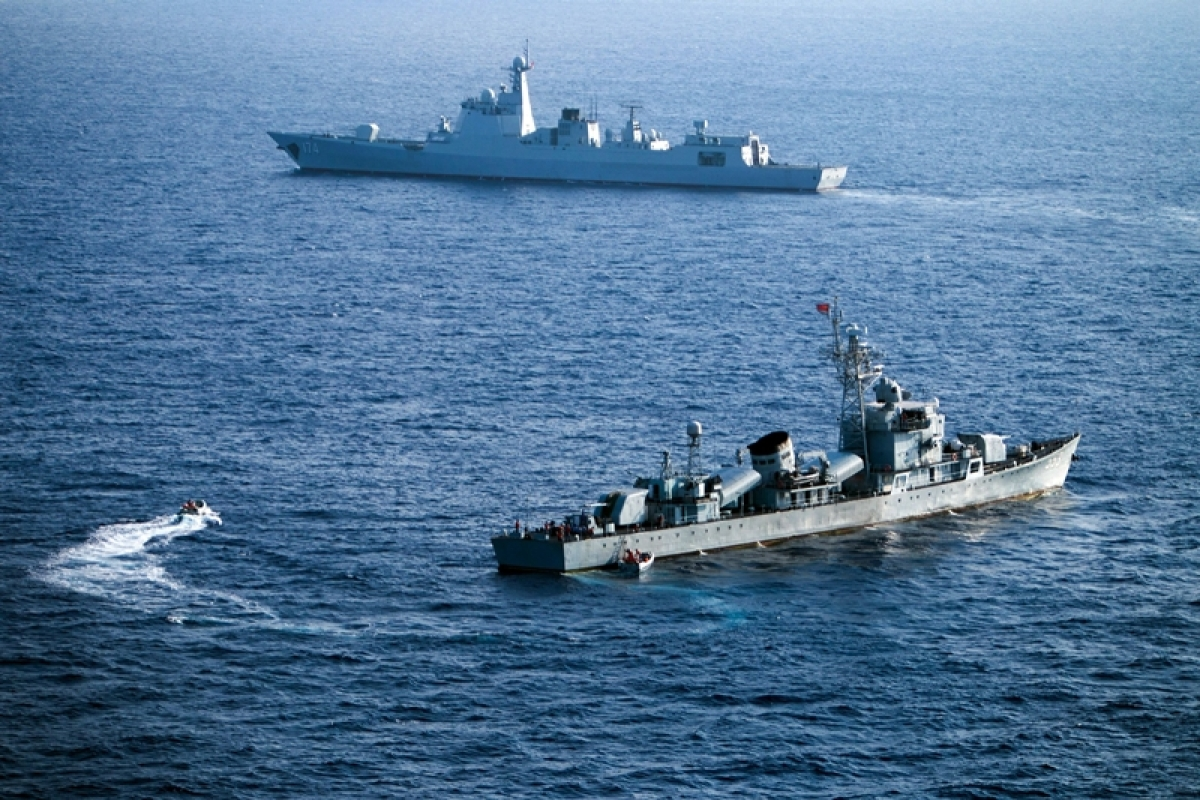 (FILES) This file photo taken on May 5, 2016 shows crew members of China's South Sea Fleet taking part in a drill in the Xisha Islands, or the Paracel Islands in the South China Sea.  Beijing braced on July 12, 2016 for an international tribunal's ruling on the South China Sea, where it has expansive territorial claims, with all eyes watching for the Asian giant's reaction on the ground or in the water. Beijing claims sovereignty over almost the whole of the South China Sea, on the basis of a segmented line that first appeared on Chinese maps in the 1940s, pitting it against several neighbours. / AFP PHOTO / STR / China OUT