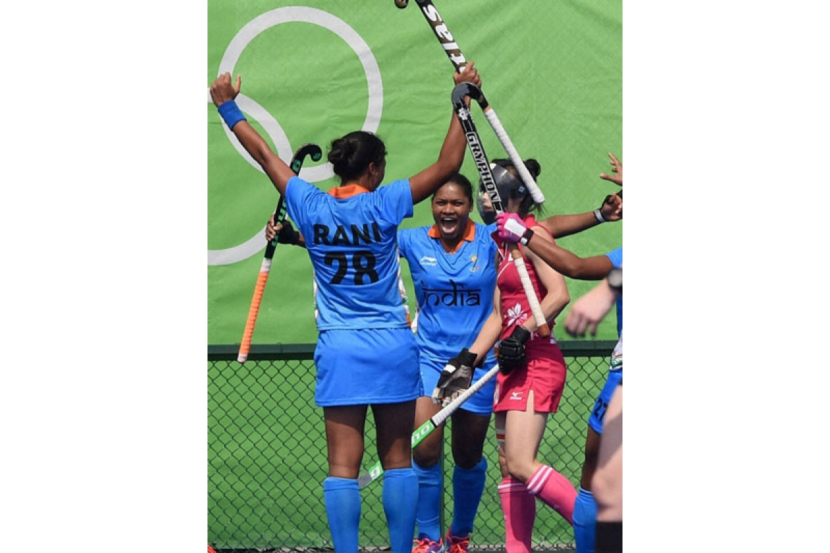 Rio de Janeiro :  Indian women hockey players celebrate a goal against Japan during opening match of pool B at the Rio Olympic 2016 in Rio de Janeiro, Brazil on Sunday. PTI Photo by Atul Yadav (PTI8_7_2016_000206B)
