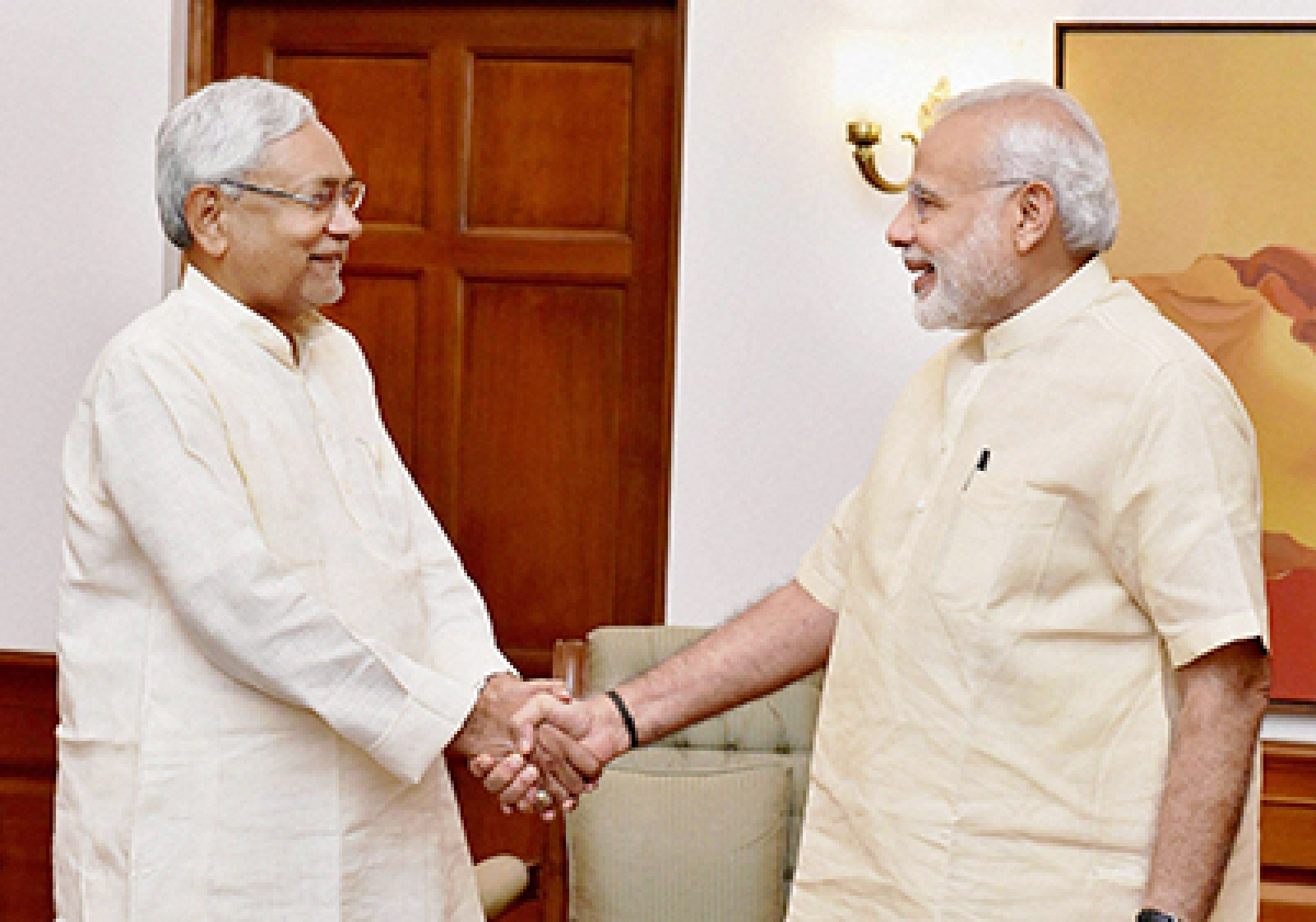 New Delhi: Prime Minister Narendra Modi with Chief Minister of Bihar Nitish Kumar at a meeting to discuss flood situation in the State, in New Delhi on Tuesday. PTI Photo/PIB(PTI8_23_2016_000082B)