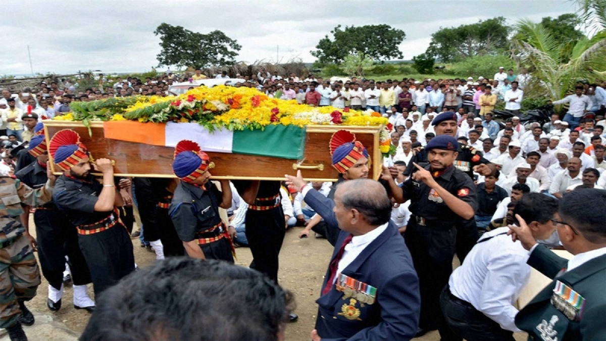 Representative Pic: The body of Lance Naik Kanhaiyalal Jat was cremated with full military honours in his native village in Gunawad
