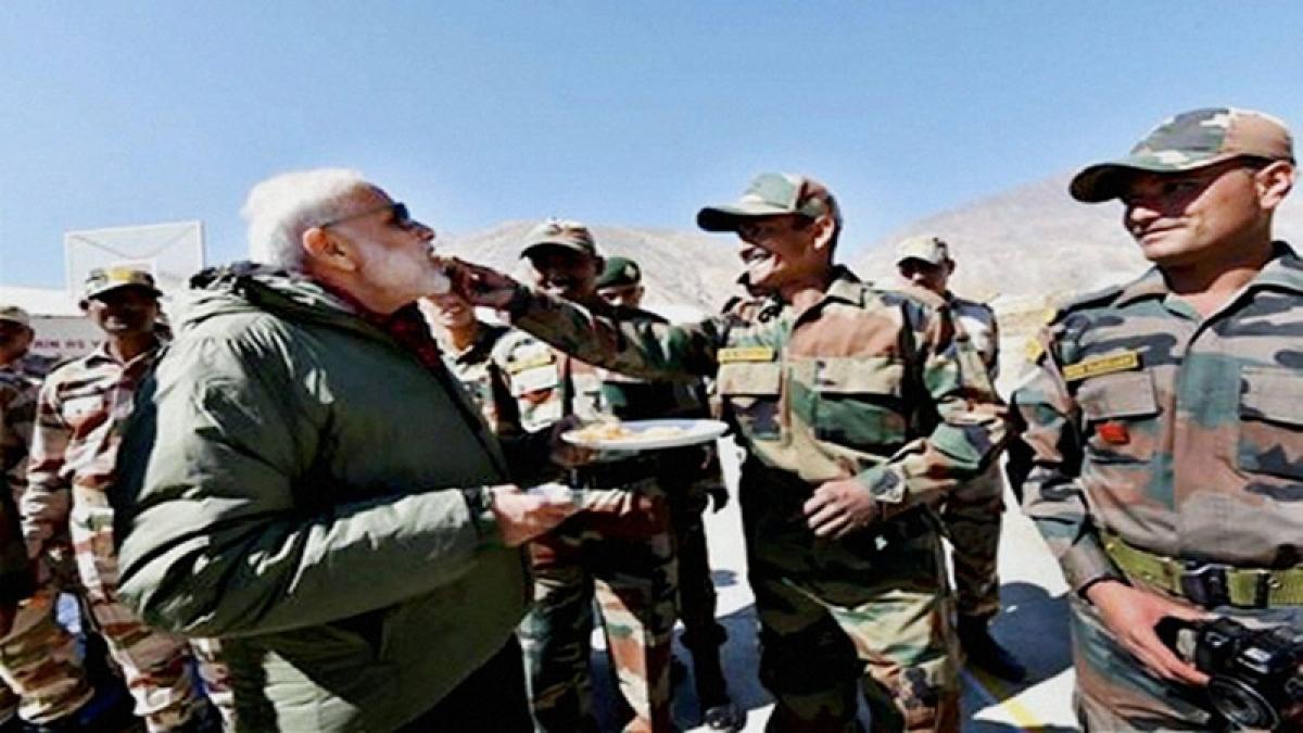 Prime Minister Narendra Modi spreads Diwali cheer among jawans