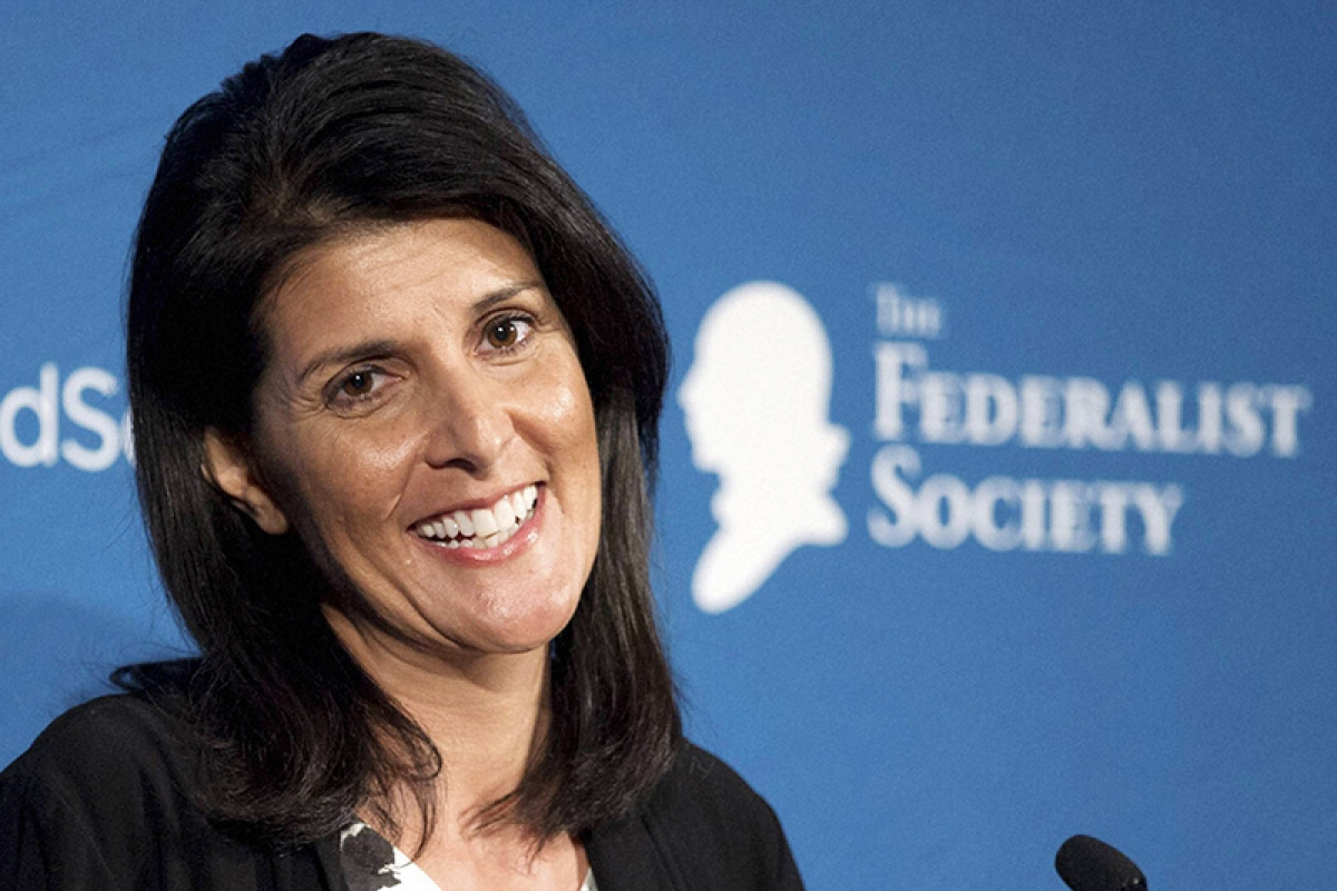 Washington: South Carolina Gov. Nikki Haley speaks at the Federalist Society's National Lawyers Convention, Friday, Nov. 18, 2016, in Washington.AP/PTI(AP11_19_2016_000043B)