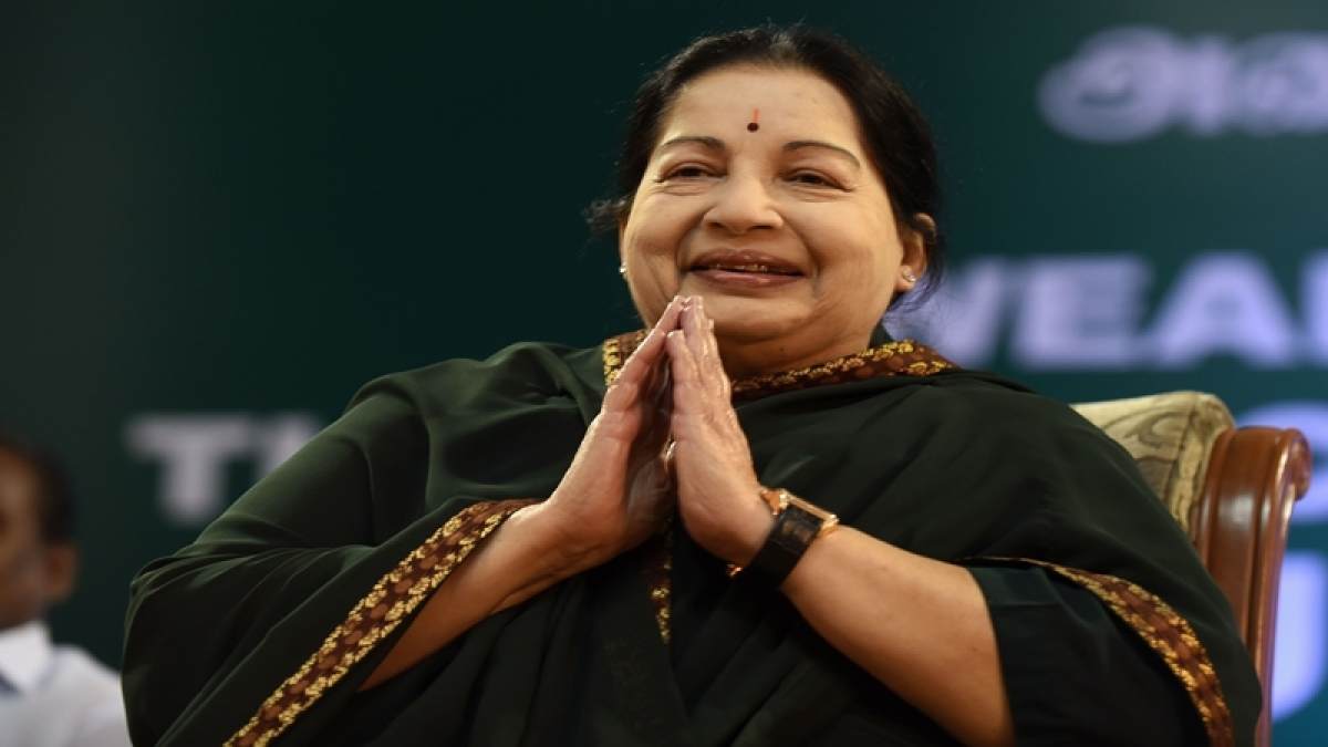 (FILES) This file photo taken on May 23, 2016 shows Jayalalithaa Jayaram, leader of All India Anna Dravida Munnetra Kazhagam (AIADMK), taking part in a swearing-in ceremony as chief minister of Tamil Nadu state in Chennai. Jayalalithaa Jayaram, the chief minister of south India's Tamil Nadu state and one of the country's most popular political leaders, died after a prolonged illness, hospital authorities announced late December 5, 2016 night. / AFP PHOTO / ARUN SANKAR
