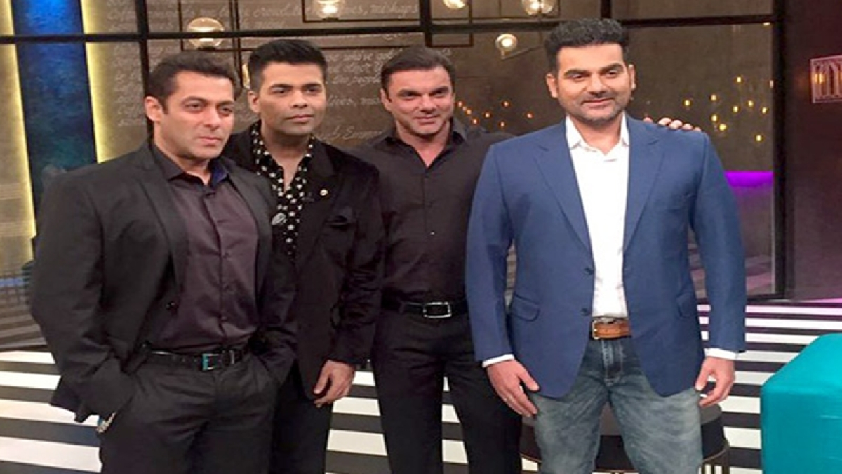 Salman Khan shoots for Koffee with Karan's 100th episode with brother Arbaaz and Sohail