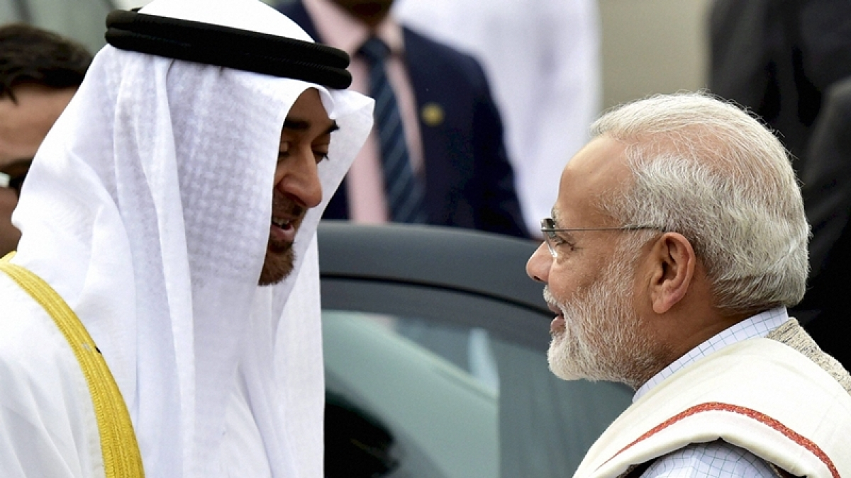PM Modi welcomes Sheikh Mohammed Bin Zayed, Crown Prince of Abu Dhabi and Deputy Supreme Commander of the Armed Forces, upon his arrival on a state visit to India, at AFS Palam in New Delhi on Tuesday. PTI Photo by Kamal Kishore   (PTI1_24_2017_000152B)