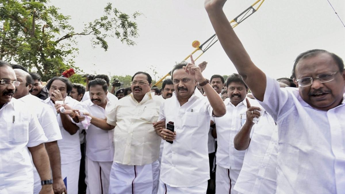 TN power tussle: Stalin-led DMK goes on hunger strike against speaker's trust vote