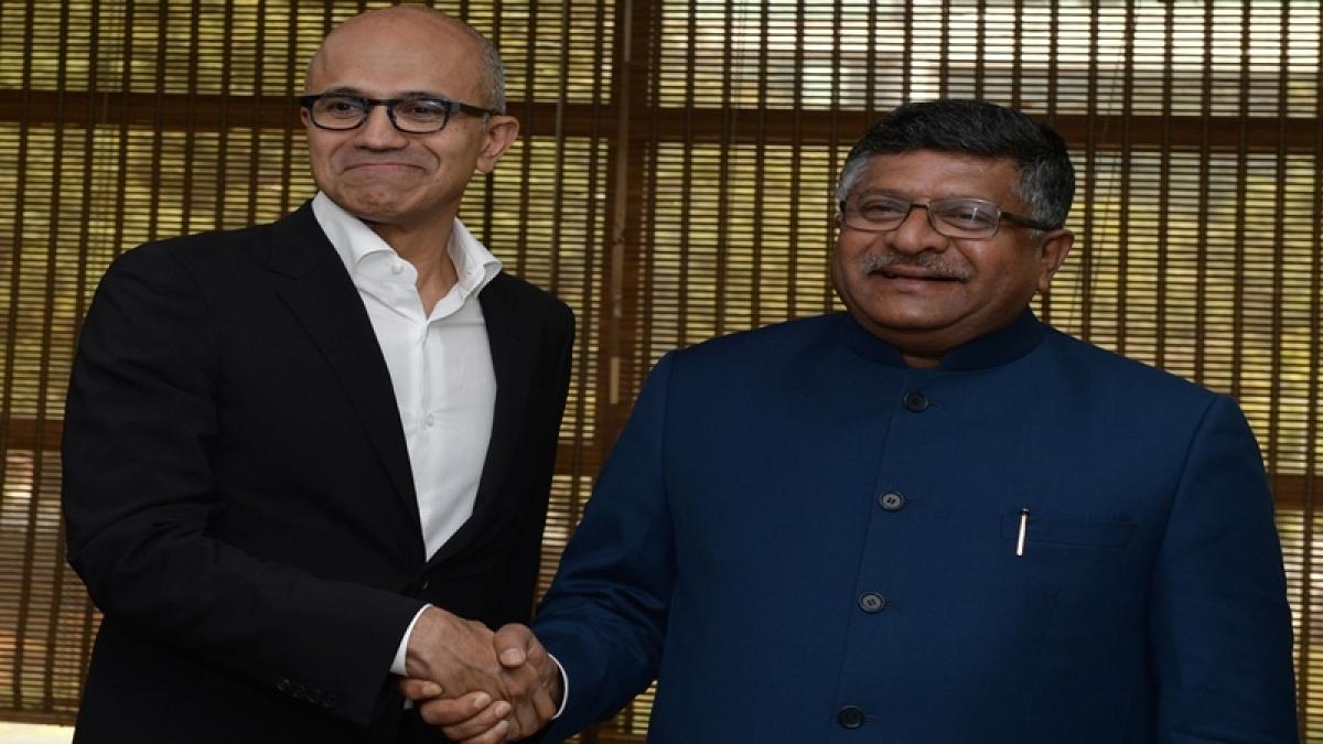 IT Minister Prasad urges Microsoft CEO Nadella to help boost DigiGaon initiative