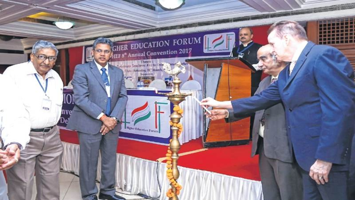 Lighting the Ceremonial Lamp (L-R) Dr. Rammohan Rao, Dr. S. S. Sahay, Dr. N. M Kondap and Dr. Peter Cunningham