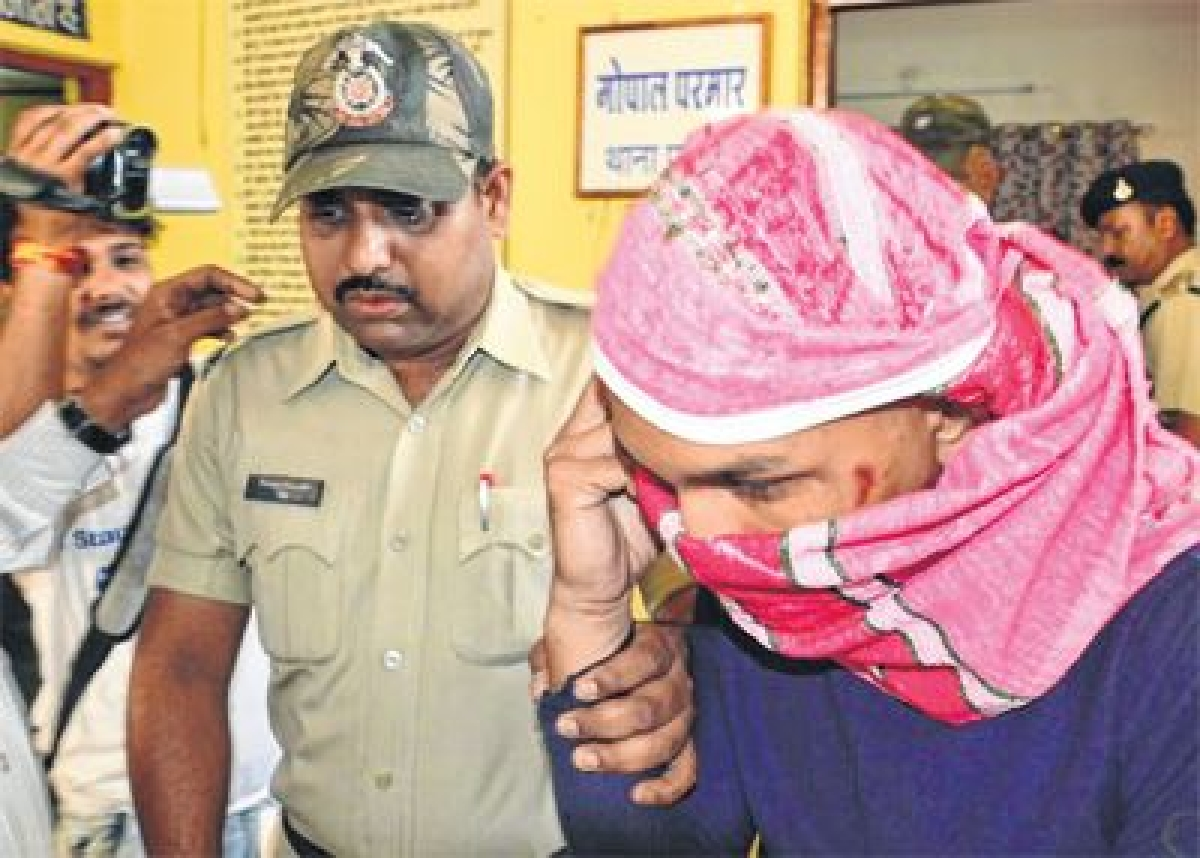 Juned Ahmed who was tonsured by some activists of pro-Hindu organisations for molesting a nurse. FP PHOTO