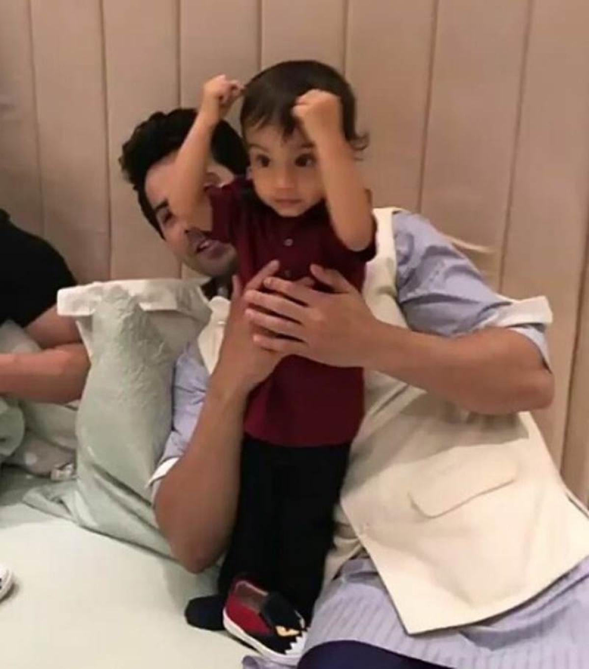 Video: Varun Dhawan plays with Salman Khan's nephew Ahil Sharma at Eid party