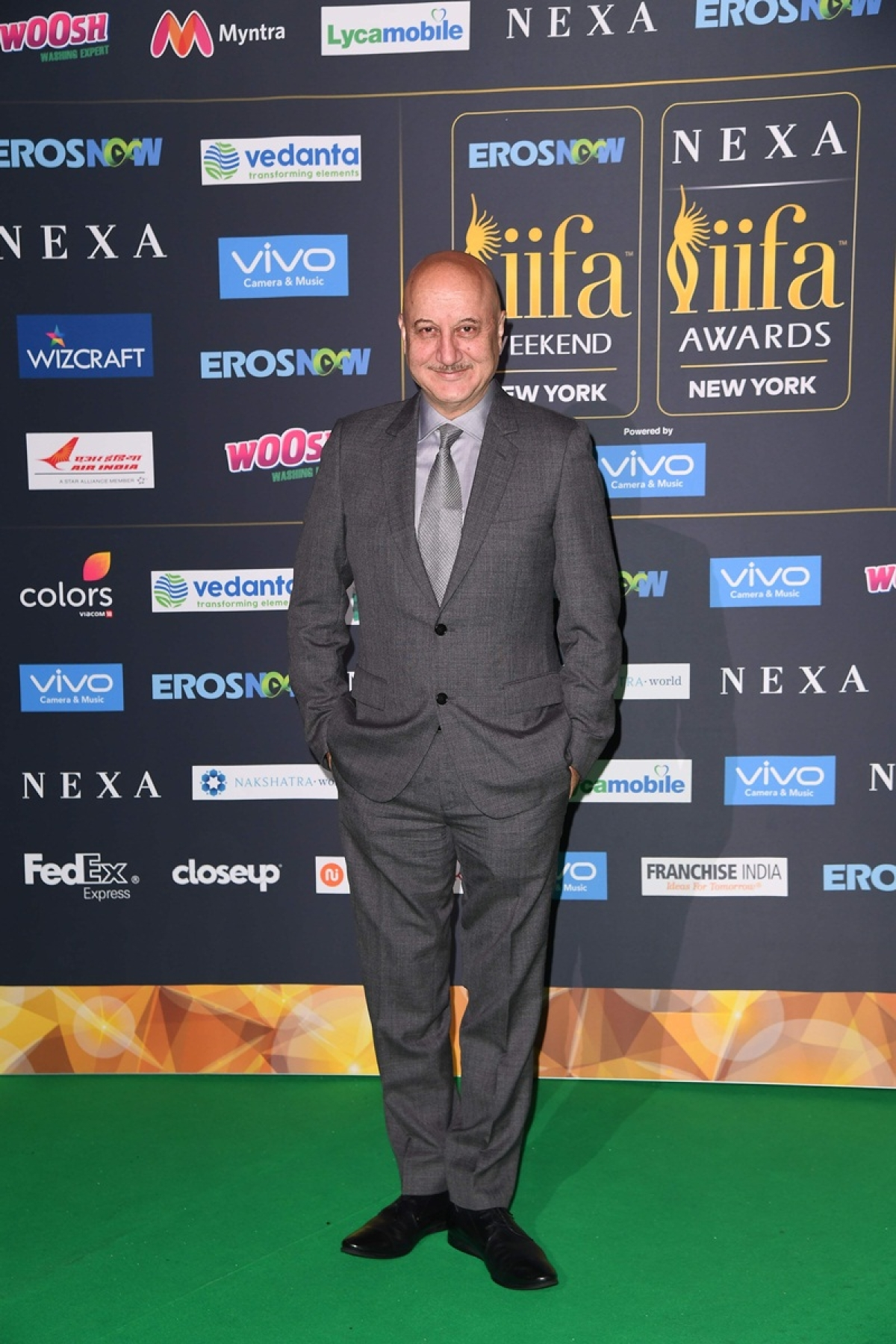 Bollywood Actor Anupam Kher arrives for the IIFA Awards July 15, 2017 at the MetLife Stadium in East Rutherford, New Jersey during the 18th International Indian Film Academy (IIFA) Festival. / AFP PHOTO / ANGELA WEISS