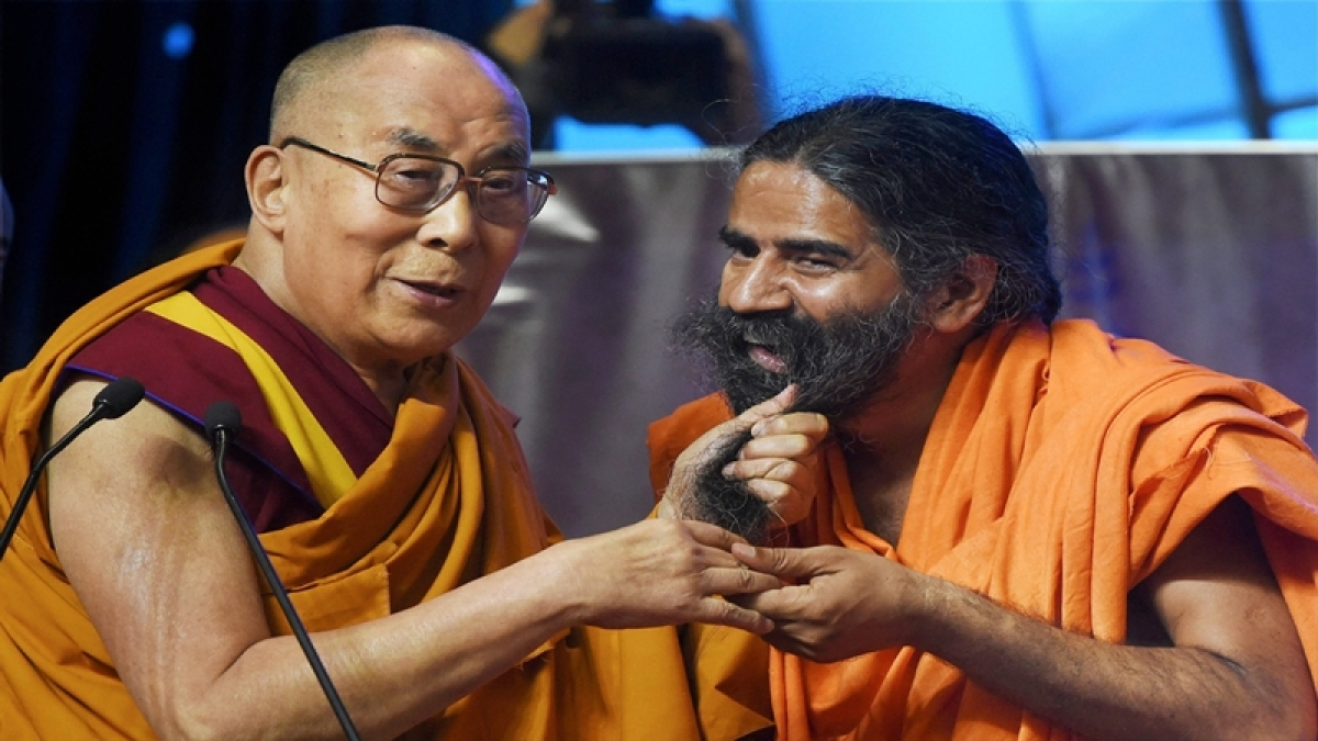 Dalai Lama-Baba Ramdev bonhomie: Smiles, jokes and beard yanking!