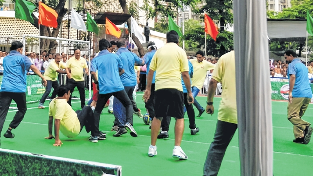 Maharashtra legislators play soccer to promote it in rural areas