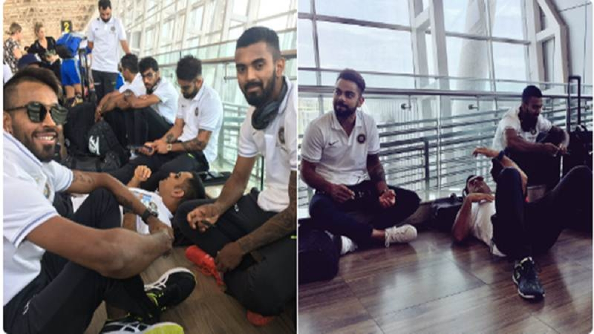 See Pictures: MS Dhoni relaxes, Virat Kohli chills on Chennai airport floor