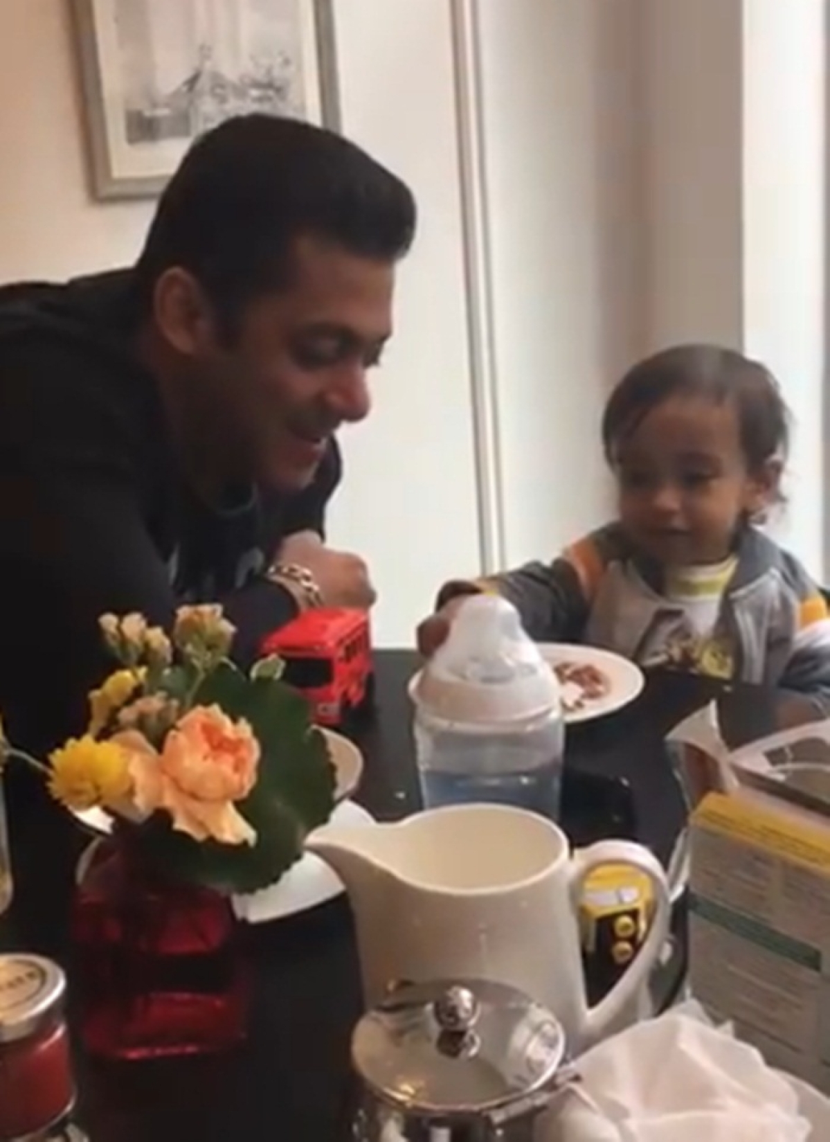 Must Watch: Adorable video of Salman Khan sharing breakfast with nephew Ahil!