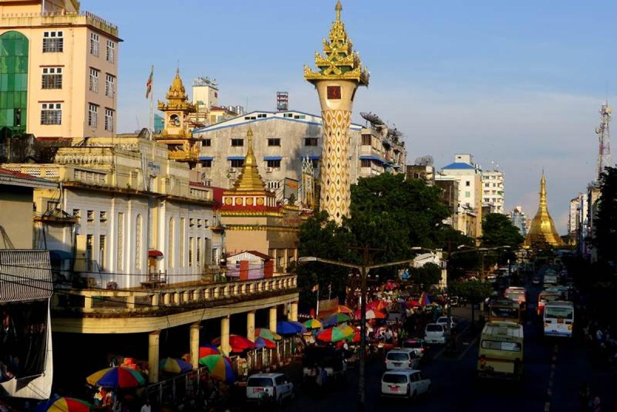 A main street in Yangon