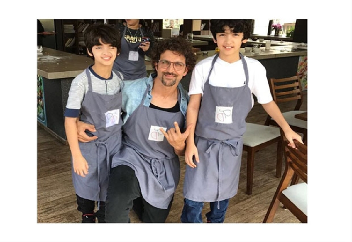 Fun Time: Hrithik Roshan and Sussanne Khan spend Sunday with their boys in cooking classes