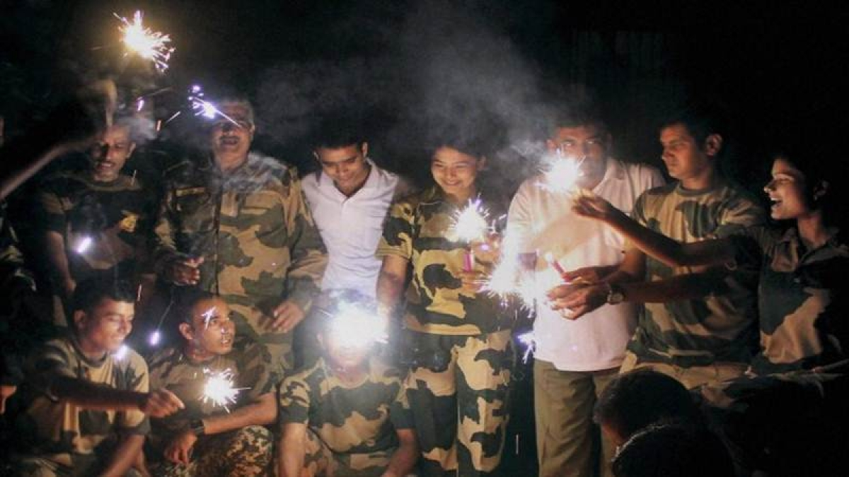 Jawans deployed at borders celebrate Diwali