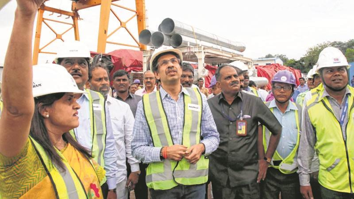 Mumbai : Shiv Sena chief Uddhav Thackeray during a visit at Mumbai Metro Project 3 at Azad Maidan,on Wednesday. Photo by BL SONI