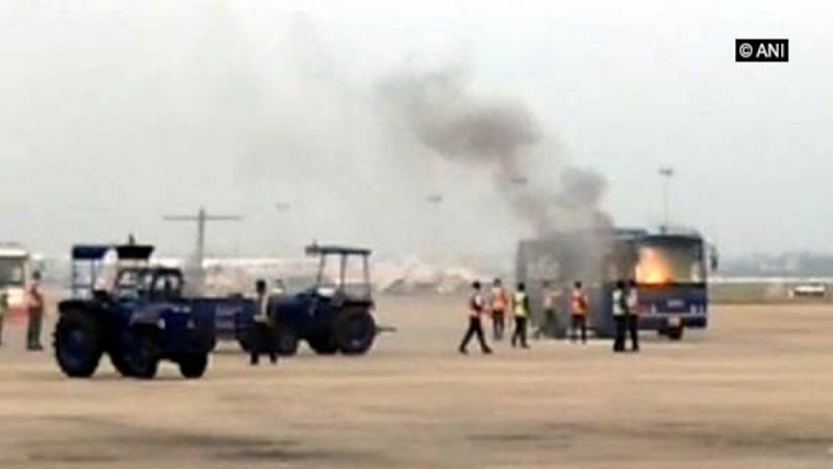IndiGo passenger bus catches fire at Chennai airport, no one injured